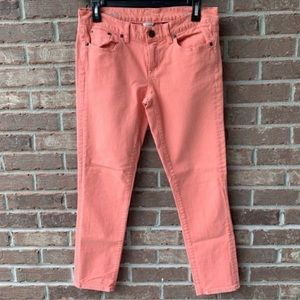 J. Crew Salmon Colored Toothpick Jeans Size 28